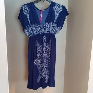 Cristina Love Blue Print Dress L Large